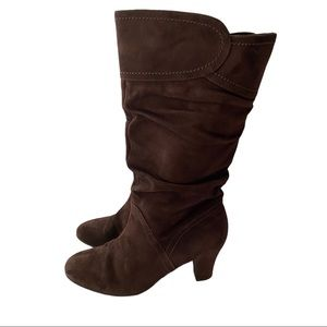 College Brown Suede Heeled Boots Size 8M
